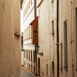 Prague, ancient narrow streets in a historical part of the city - Stock Photo