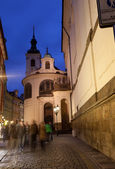 View of the night street in Prague in the summer — Stock Photo