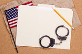 American Flag and Handcuffs — Stock Photo