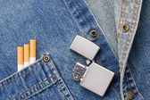 Smoking and Denim — Stock Photo