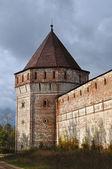Corner tower of ancient russian monastery — Stock Photo