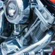 Chrome motorcycle engine - Stock Photo