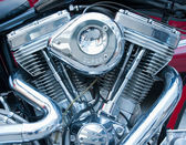 Chrome motorcycle engine — Stock Photo