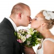 Stock Photo: Wedding couple kissing