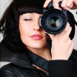 Woman with photocamera — Stock Photo #10788016