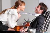 Flirting at office — Stockfoto