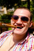 Man with cigar — Stock Photo