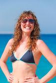Very happy beautiful woman at the sea — Stock Photo