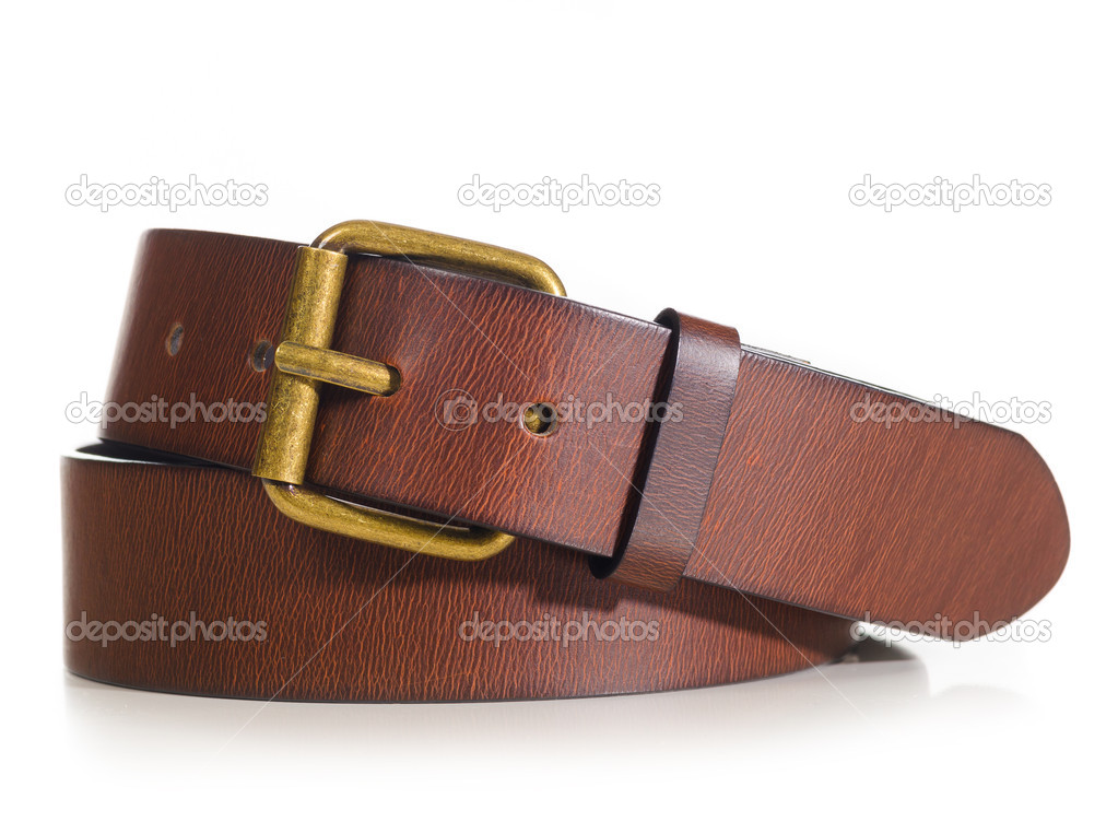 Brown leather belt cut out from white background — Stock Photo #11581521