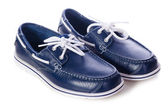 Blue leather deck shoes — Stock Photo