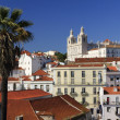 View of Alfama district , old Lisbon (Portugal) - Stock Photo