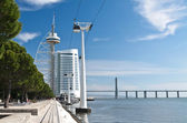 Quay of Tejo river with Vasco da Gama tower, Lisbon — Stock Photo