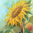 Sunflower, oil on canvas — Stock Photo