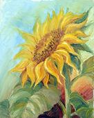 Sunflower, oil on canvas — Stock Photo