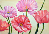 Poppies, oil painting on canvas — 图库照片