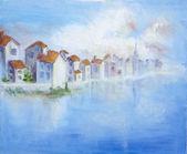 白い町と海岸 — ストック写真