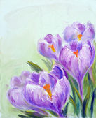 Crocuses, oil painting on canvas — Stock Photo