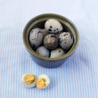 Quail Eggs in The Ceramic Bowl — Stock Photo