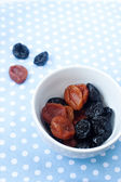 Dried fruits - prunes and arpicots — Stock Photo