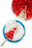 Strawberry Cheesecake And A Small Piece — Stock Photo