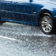Driving in heavy rain — Stock Photo