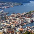 Bergen city view from hill — Stock Photo