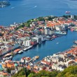 Bergen city view from hill - Stock Photo