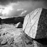 Big stone on mountain top — Stock Photo