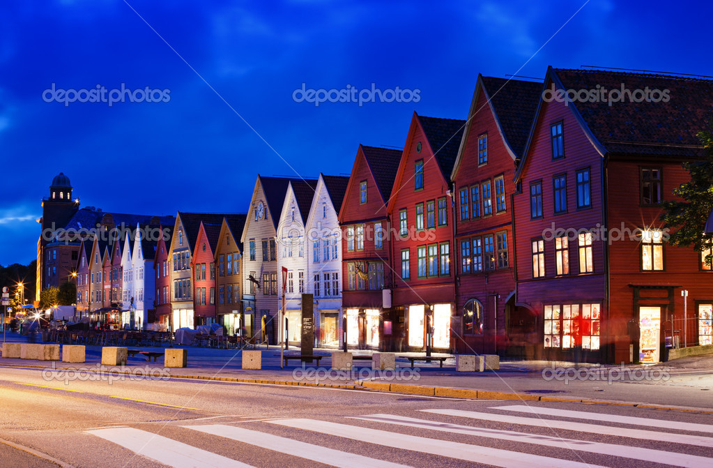 Bryggen, houses on quay in Bergen in Norway. Long exposure effect. — Stock Photo #11748264