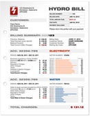 Factura de utilidades de electricidad hidráulica — Vector de stock