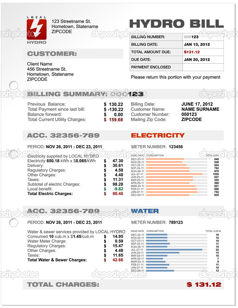 Hydro Electricity Utilities Bill — Stock Vector © vittore #11017332