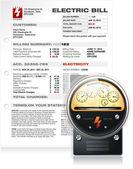 Bolletta elettrica con il vettore di contatore elettrico — Vettoriale Stock