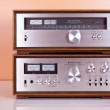 Vintage Stereo Amplifier and Tuner in Wooden Cabinets — Stock Photo #11450851