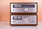 Vintage Stereo Amplifier and Tuner in Wooden Cabinets — Stock Photo