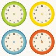 Stock Vector: Colorful clocks