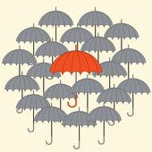 Grey and orange umbrellas — Stock Vector