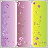 Banners verticales con patrón floral — Vector de stock