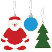 Santa claus, christmas ball and christmas tree price tags — Stock Vector