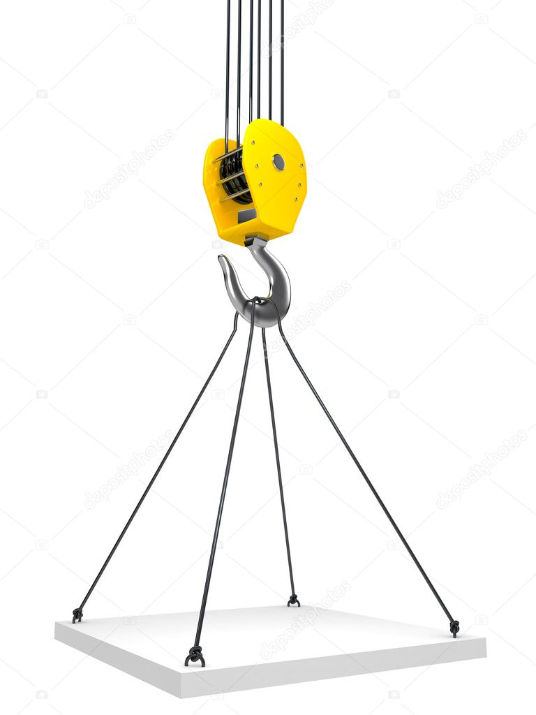Industrial hook hanging on a chain. 3d render — Stock Photo #11933837
