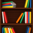 Stock Photo: 3d wooden shelves background with books