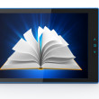 E-book reader. Books and tablet pc. 3d — Stock Photo