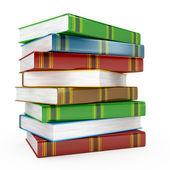 Högen av böcker på vit bakgrund — Stockfoto