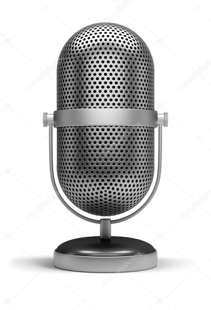 Retro a microphone. 3d image. Isolated white background. — Stock Photo #11044286