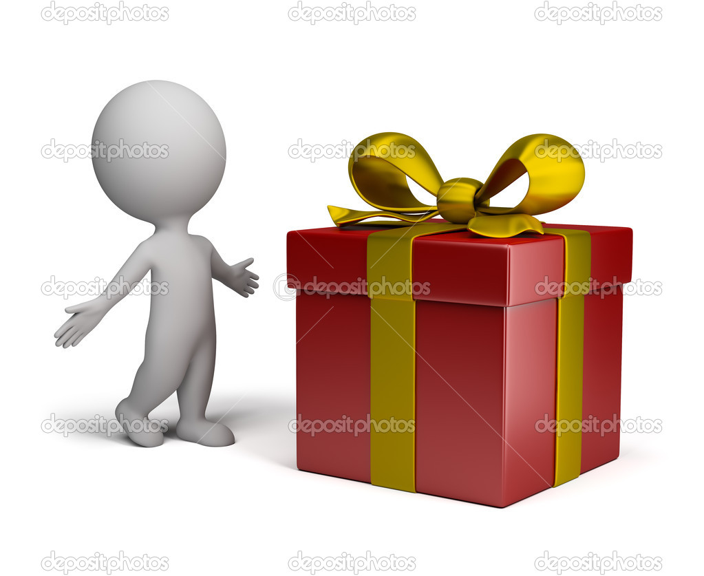 Surprised 3d person in a pose next to a large gift. 3d image. Isolated white background. — Stock Photo #11808424