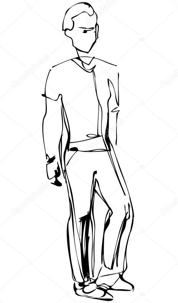 A sketch of standing fellow full length — Stock Vector #10756846