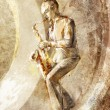 Stock Photo: Saxophonist, jazz musicion retro background