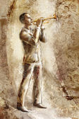 Jazz musician trumpeter on the retro background — Stock Photo