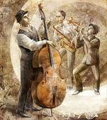 Jazzová kapela na retro pozadí — Stock fotografie