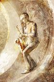 Saxophonist, jazz musician on the retro background — Stock Photo