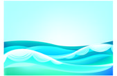 Waves of the ocean and blue sky — Stock Vector